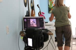 setting up for photo shoot