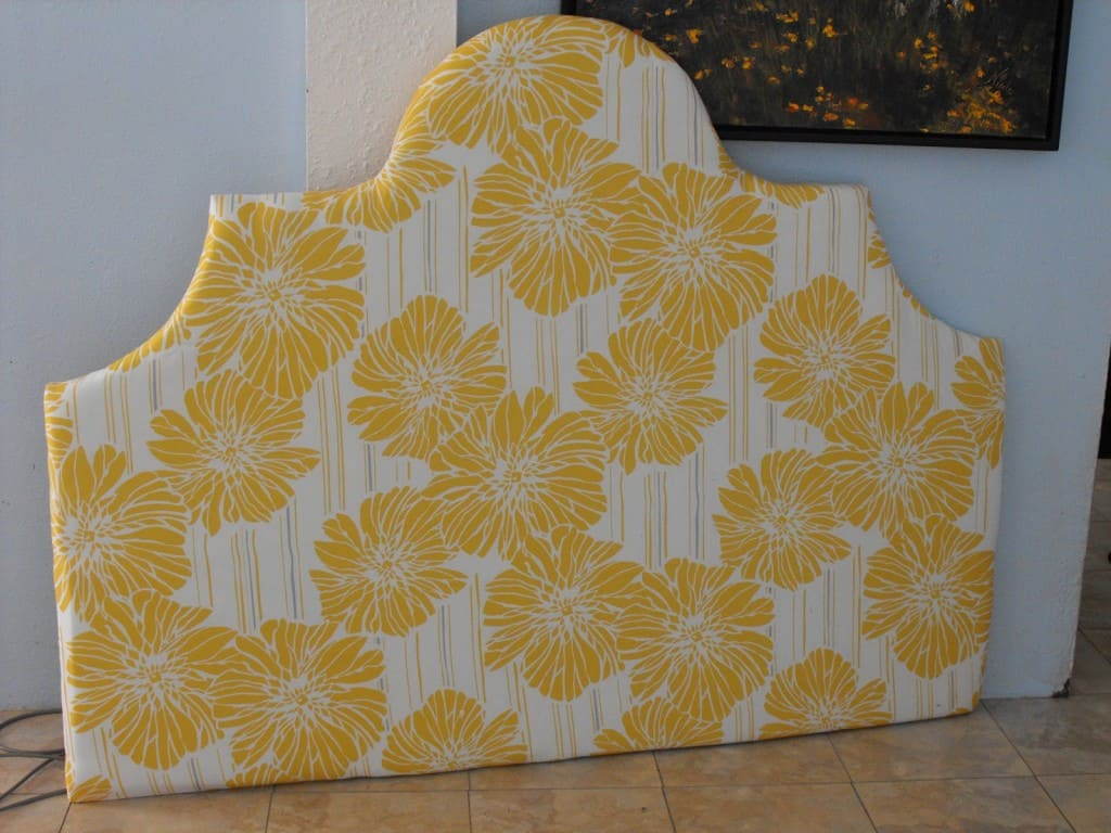 headboard with yellow flowers