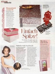 magazine article showing lace designs and fashion