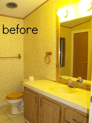 retro 1980's bathroom with wood features