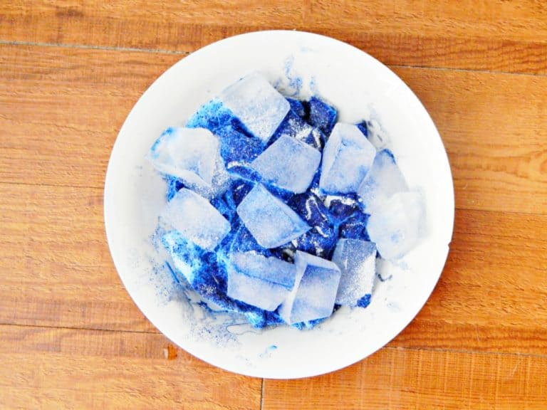 mixing together ice and dye