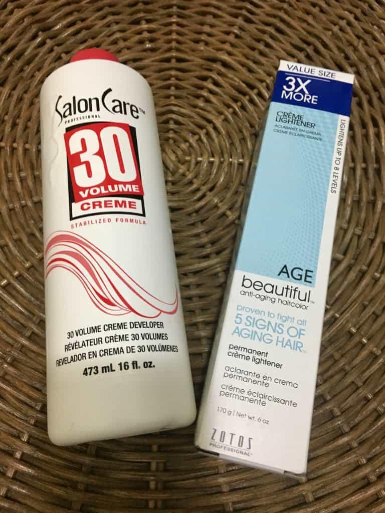 Bottle of hair bleach and developer