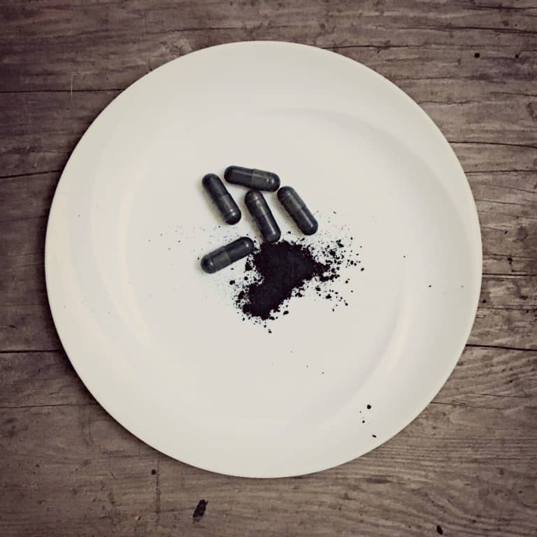 charcoal pills on plate