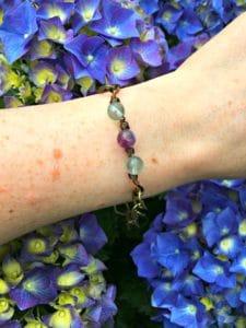 beaded bracelet on female wrist