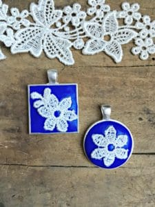 square and circle necklace with lace