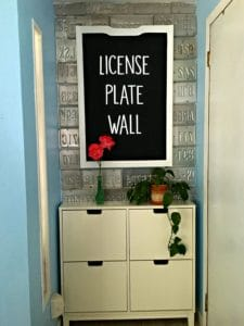 wall made out of license plates