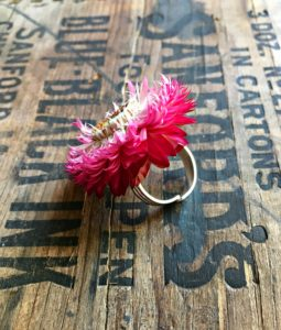 pink strawflower ring