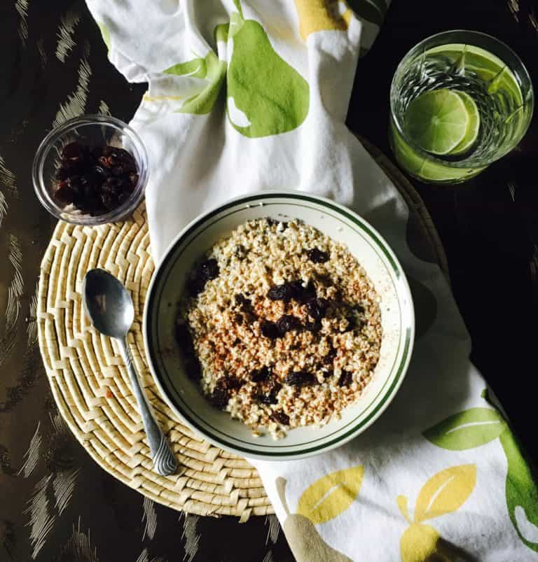 oatmeal with lime water