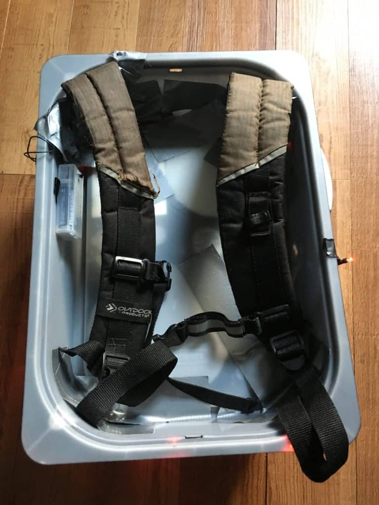 Back side of proton pack view of backpack straps