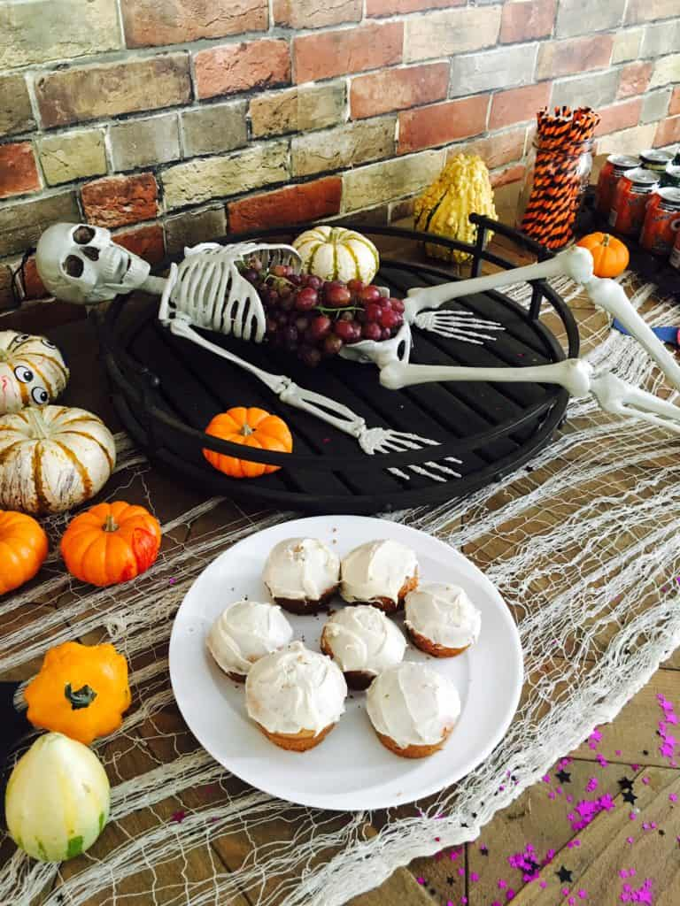 skeleton and party treats displayed on a table