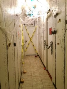hallway decorated with halloween decorations