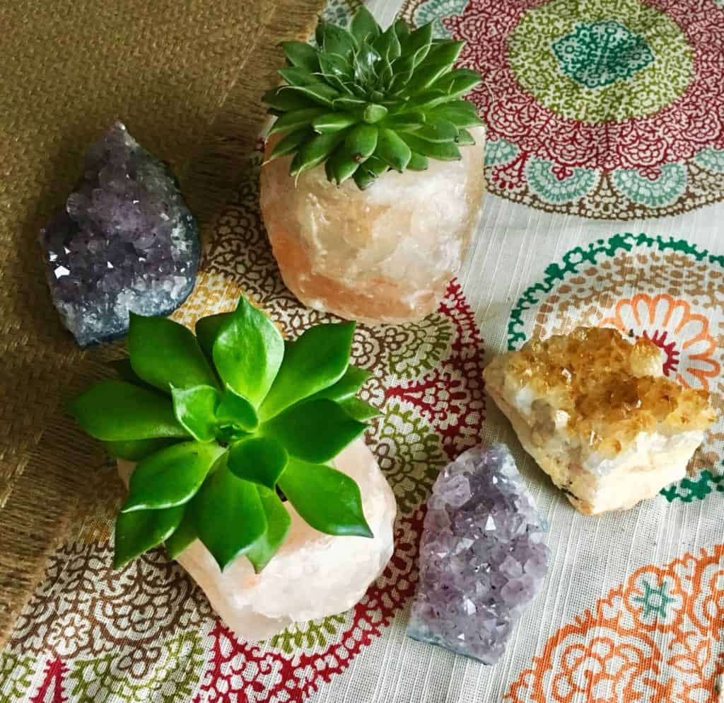 succulent plants in planters on a table cloth with crystals