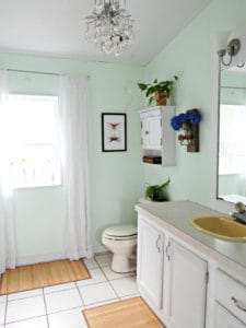 bathroom with light green wall paint