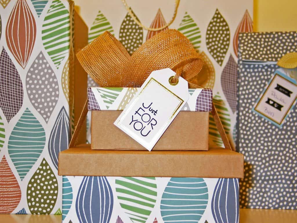colorful boxes with gift tag