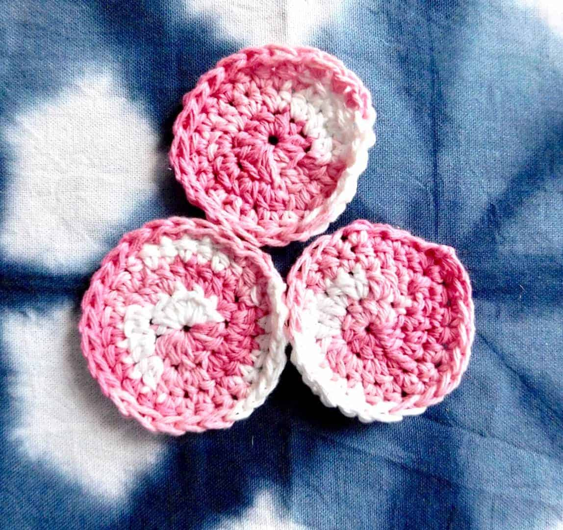 Crochet Face Scrubbie tutorial with pink cotton yarn