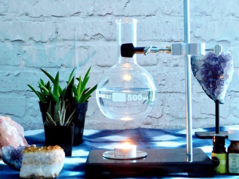 science lab oil burning