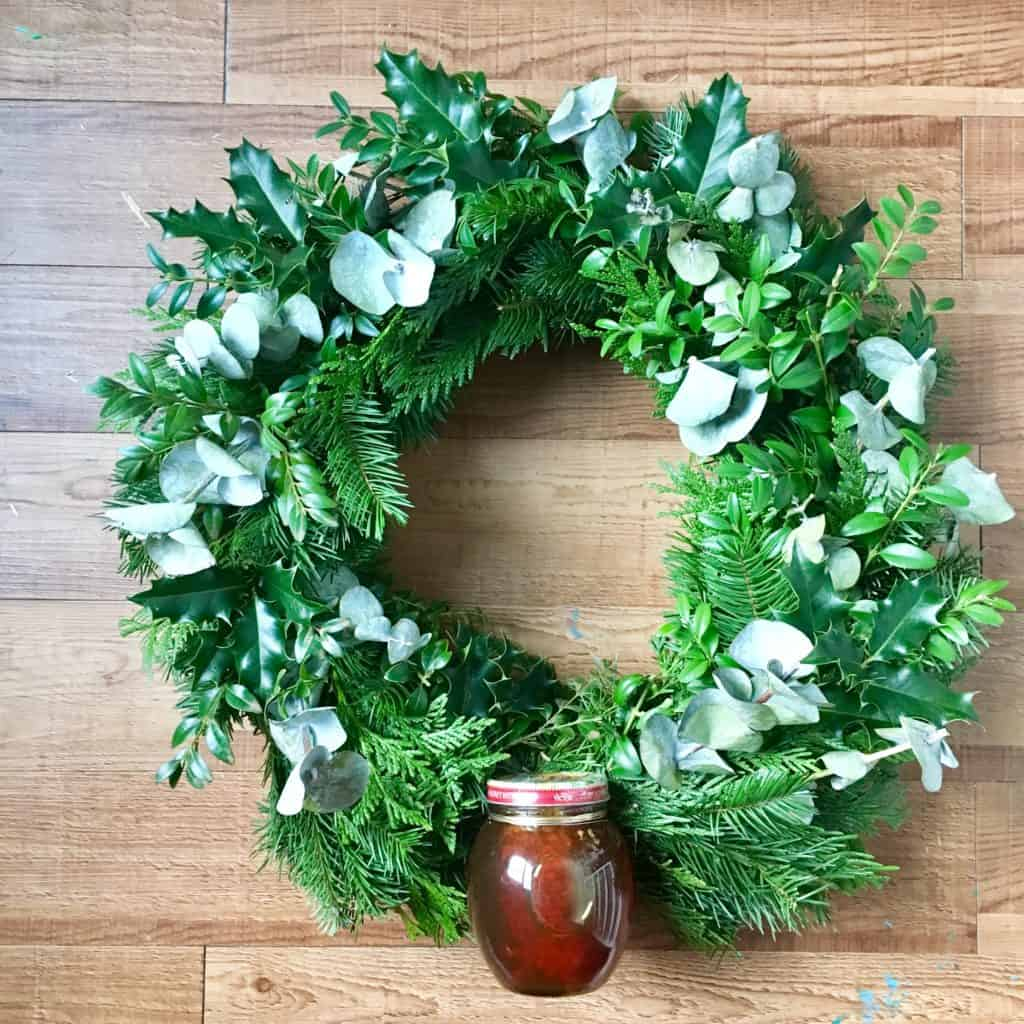 Finished wreath ready to be hung up