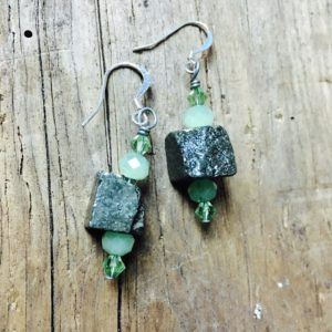 handmade pyrite earrings