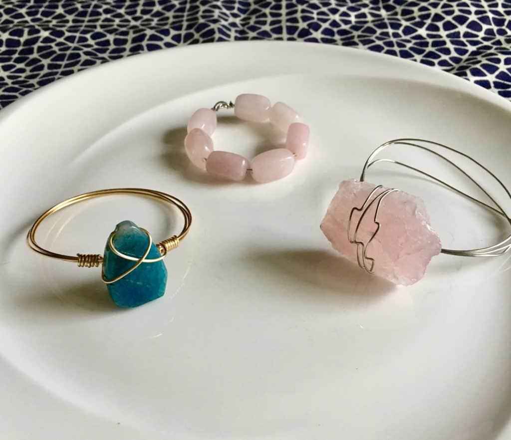 set of three crystal napkin rings