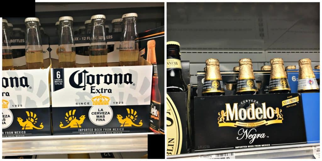 beer cocktail corona and modelo in grocery store