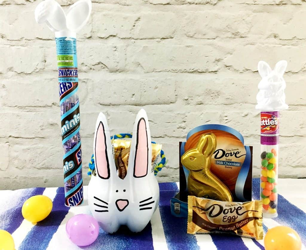 recycled bottle easter basket with candy