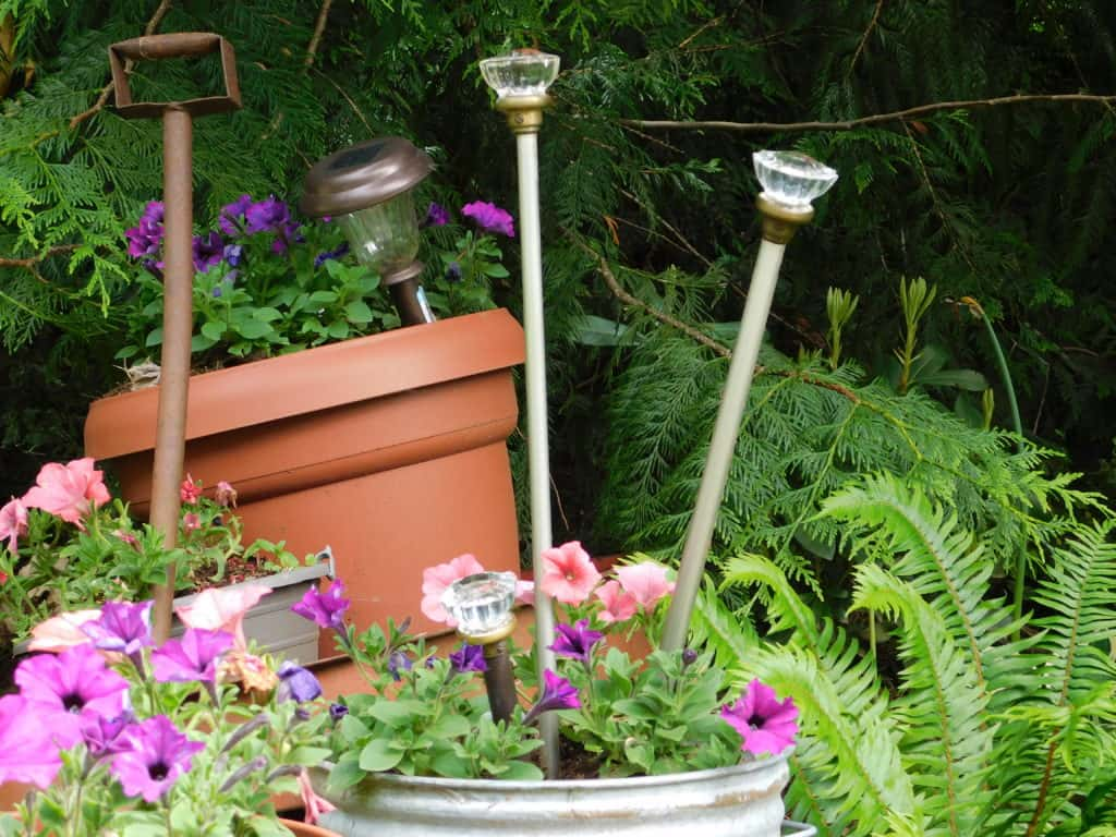 doorknob garden art in planter