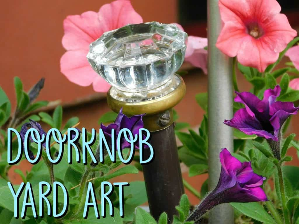 upcycled doorknob garden art
