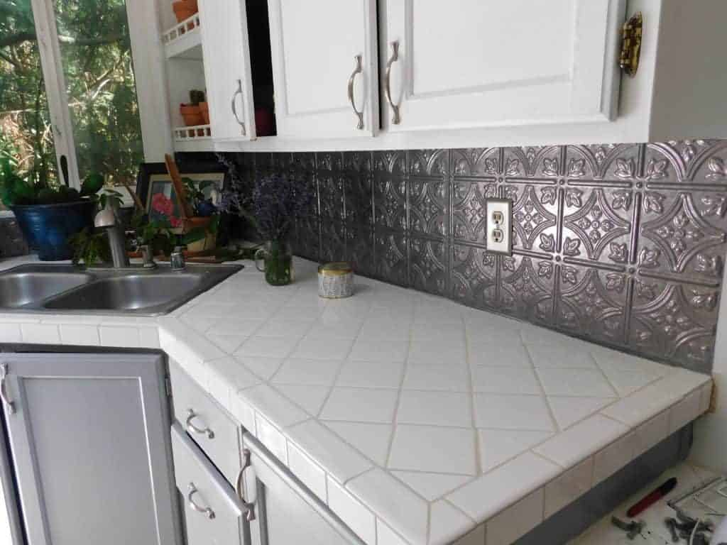 white tile kitchen counter