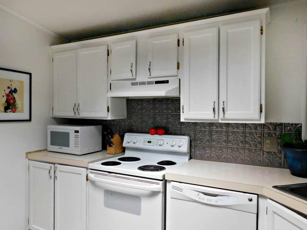 Faux Tin Kitchen Backsplash Tutorial - Crafty Little Gnome
