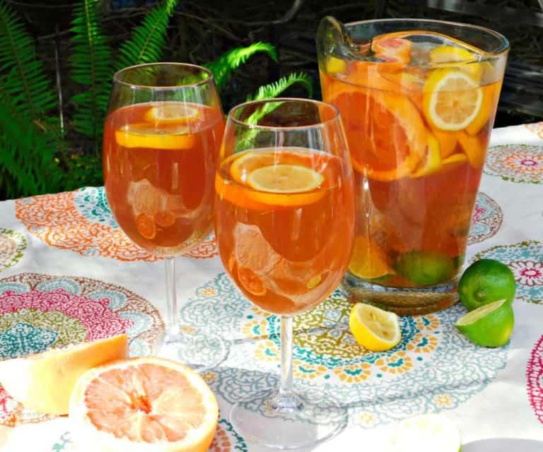 citrus beer sangria in pitcher