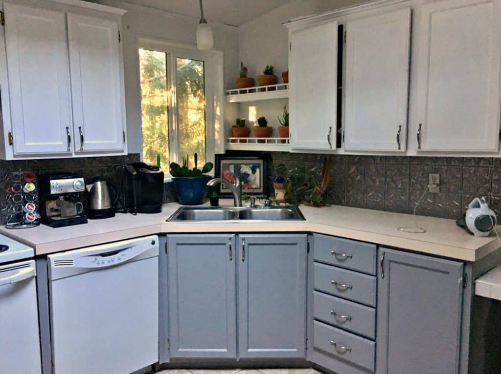 The After Result With Bottom Cabinets Painted Grey