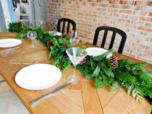place settings on dinner table
