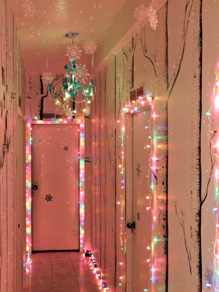Hallway with Christmas decorations and lights
