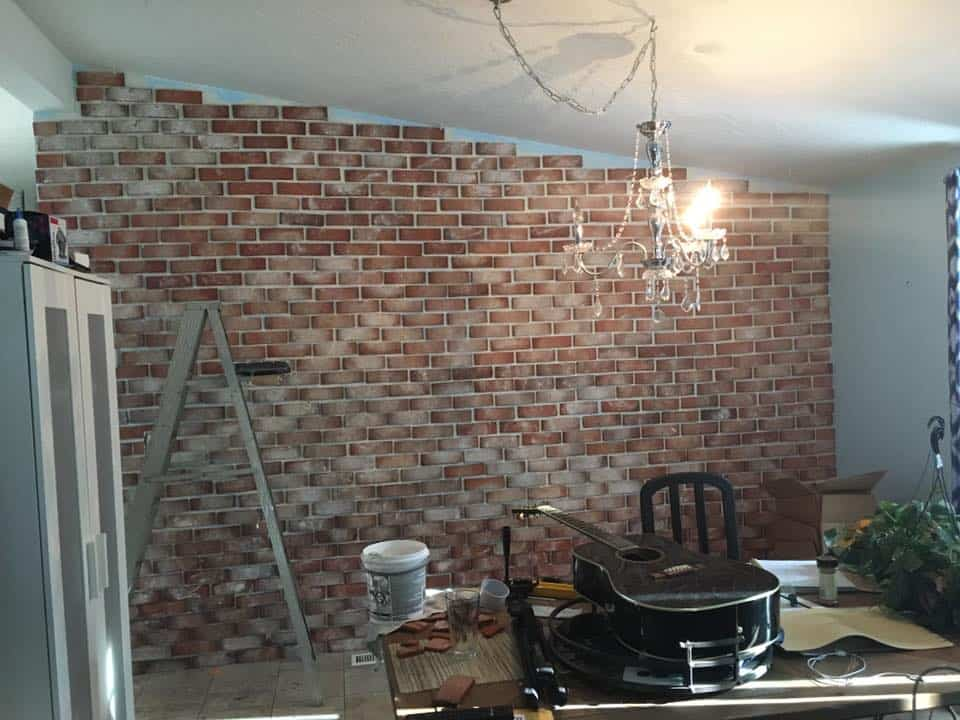 Real Thin Brick Accent Wall Tutorial Crafty Little Gnome