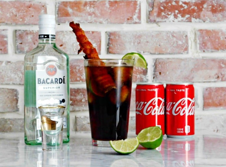 Rum and Coke Recipe with a Bacon Straw