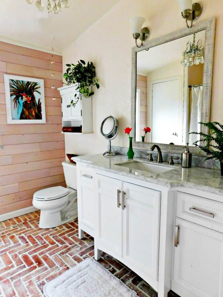 Brick Tile Floor Veneer Bathroom