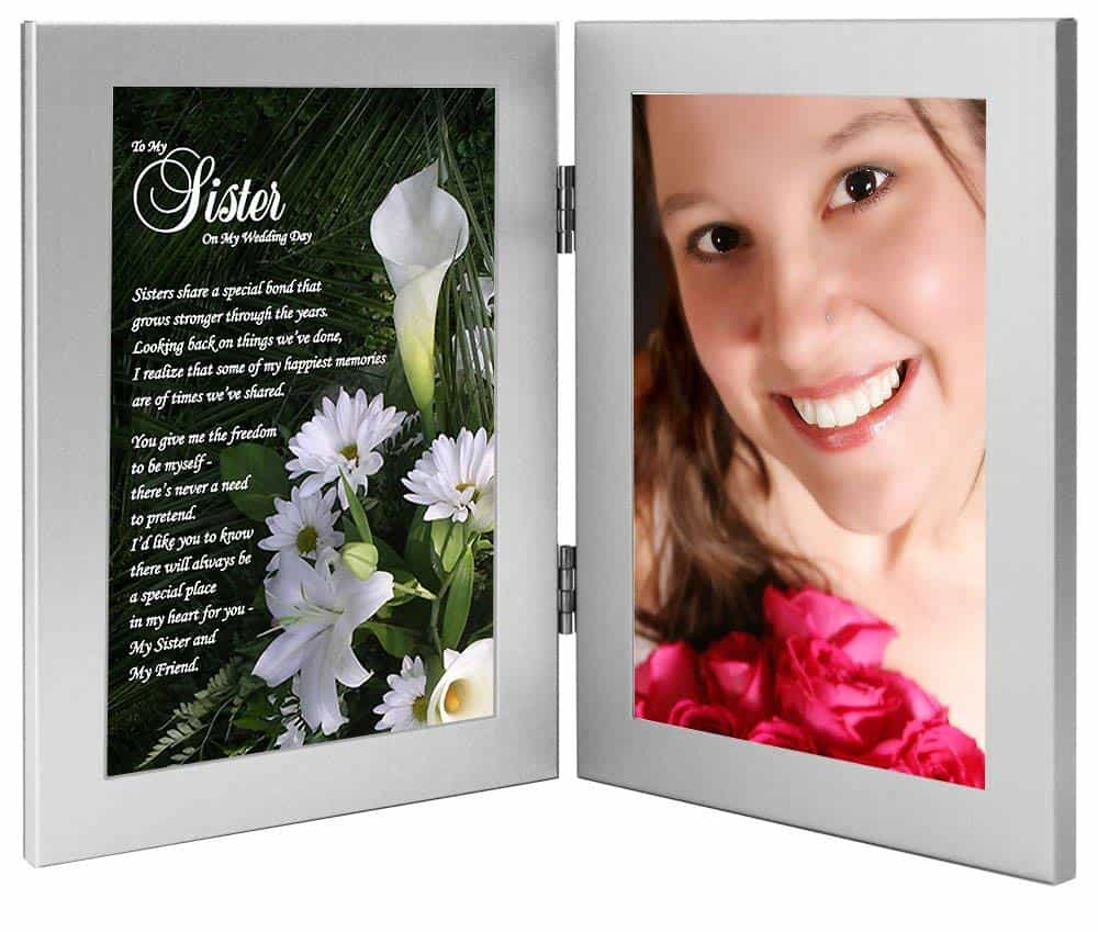 sister wedding day picture frame with poem
