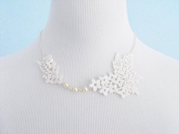 Ivory Lace Necklace with Pearls and Silver Chain