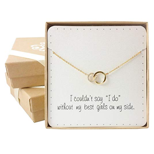 sister maid of honor necklace with quote on box