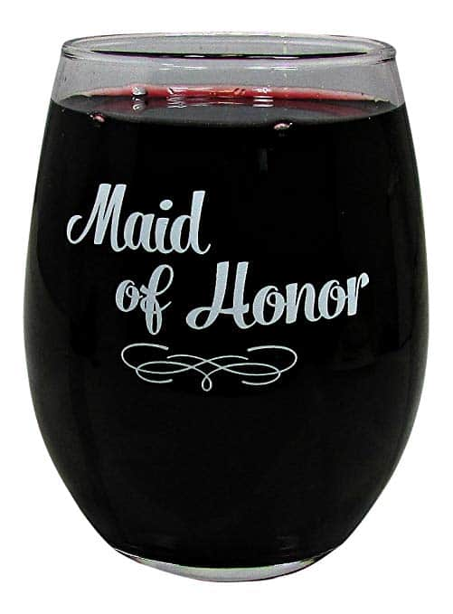 maid of honor wine glass
