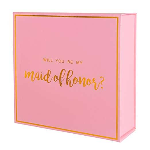 pink maid of honor box with gold foil text