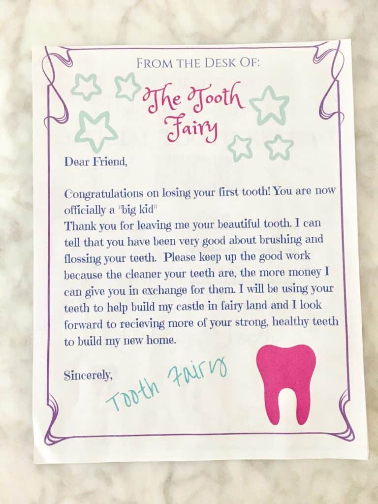 Clever image with printable tooth fairy letter