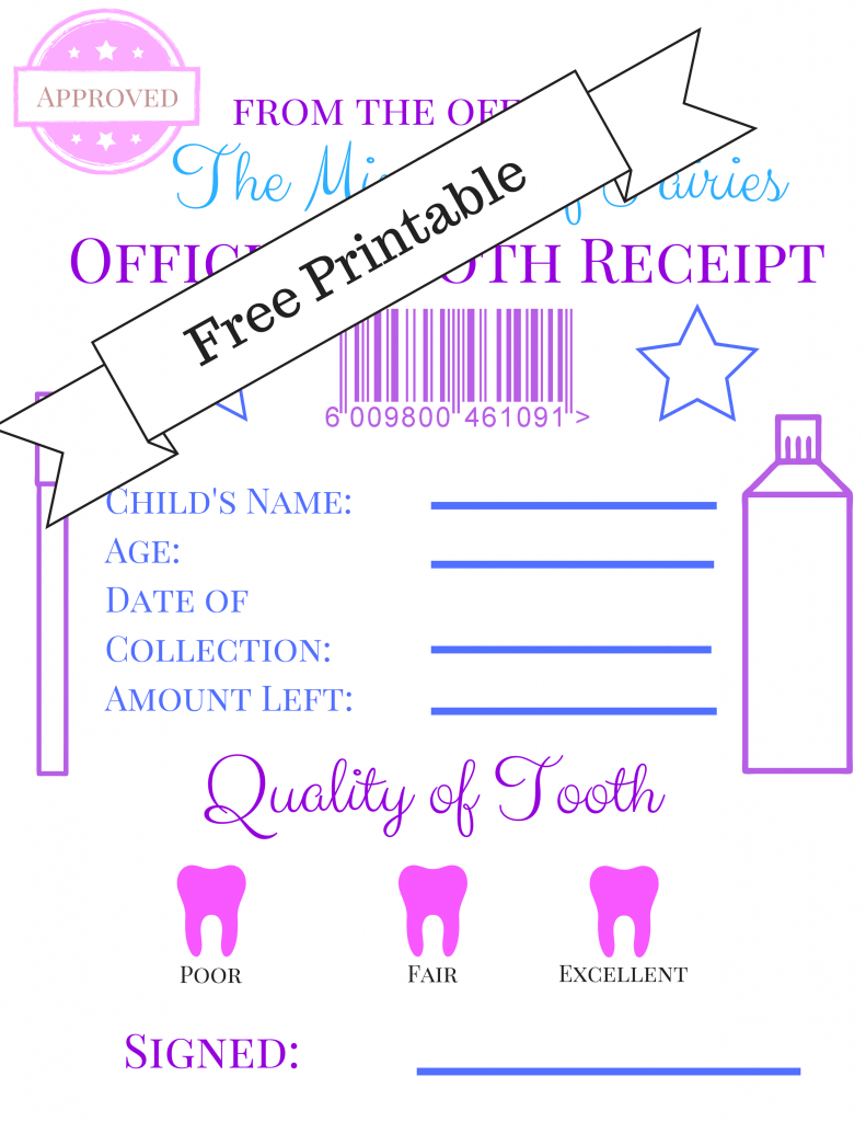 graphic about Free Printable Tooth Fairy Receipt named Enamel Fairy Receipt and Letter Printables - Cunning Tiny Gnome