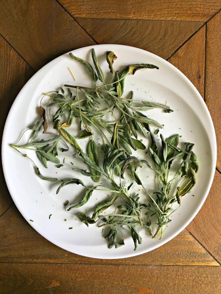 dried sage on a white plate
