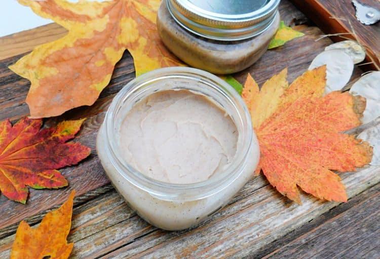pumpkin spice deodorant in mason jar on wood tray with fall leaves