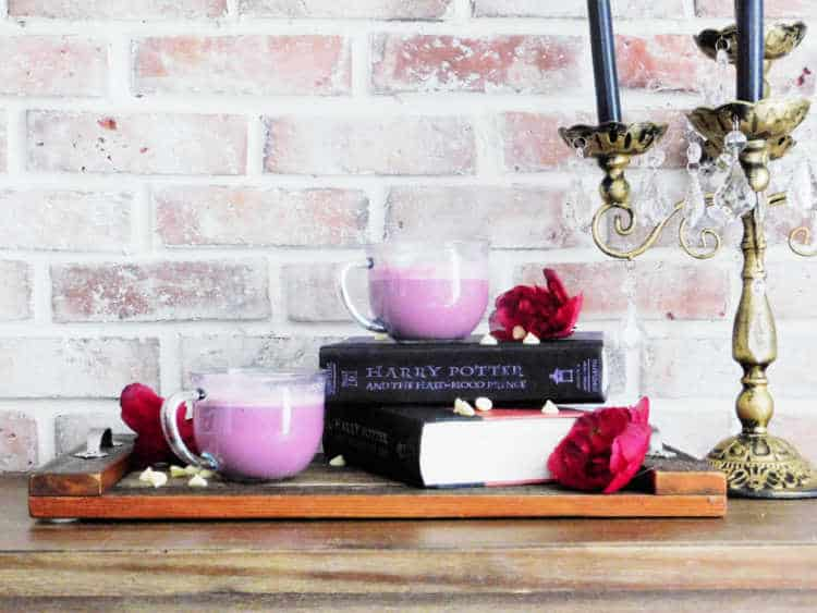 two cups of amortentia love potion sitting on top of harry potter novel