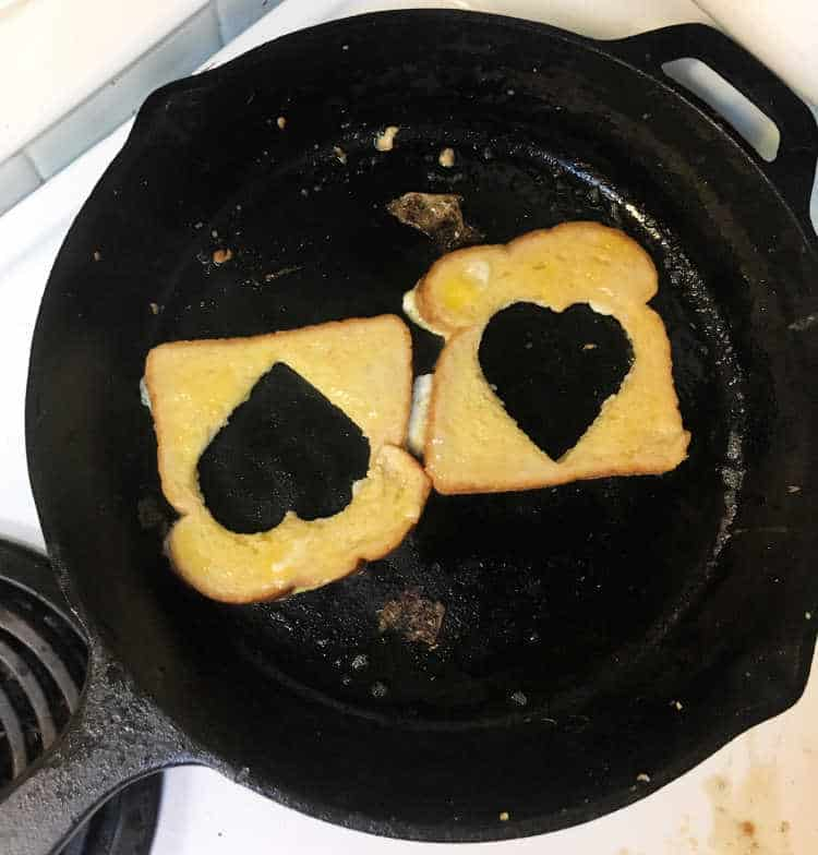 bread with heart shape cut out in pan