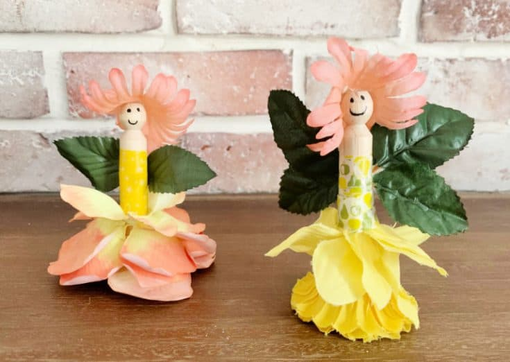 finished clothes pin fairy on table top