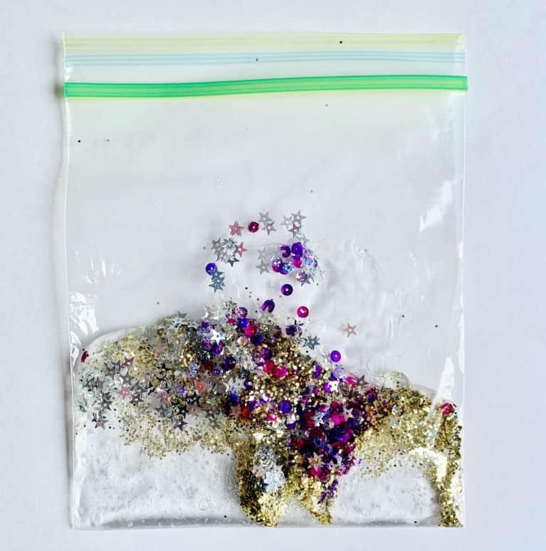 sensory bag materials in ziplock bag