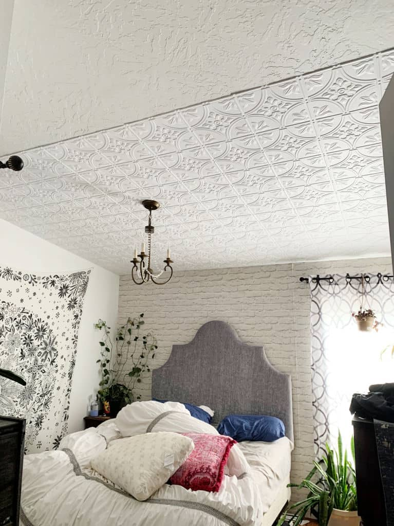 How to Install Ceiling Tiles - Crafty Little Gnome faux tin panels